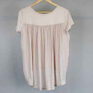 LOFT Cream Silky Back T Shirt Blouse - Small